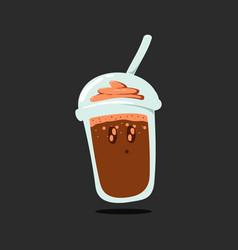 Shining eyes chocolate cup drink smiley emoji vector
