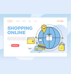 Shopping online worldwide orders and buyers web vector