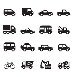 silhouette car icons set vector image
