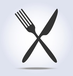 Simple fork and knife icon vector