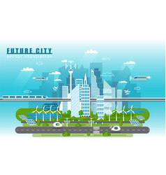 Smart city landscape of the future concept vector