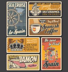spanish cuisine food coffee drink and sea travel vector image