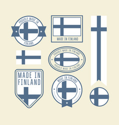 stickers tags and labels with finland flag vector image