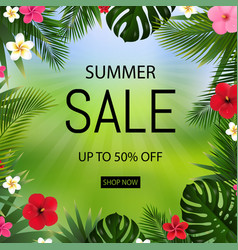 summer sale poster bokeh and tropical leaves vector image