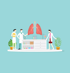 Team doctor discuss and teaching human lung vector