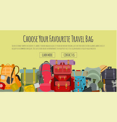 tourist camping backpack banner travel vector image