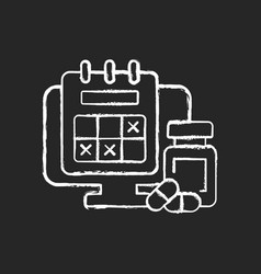 Tracking sick leave time chalk white icon on dark vector