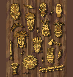 tribal mask set on wooden background vector image
