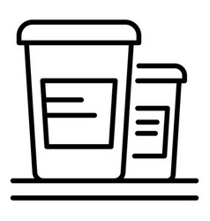 Two cups sour cream icon outline style vector