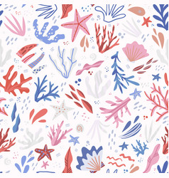 Underwater life hand drawn seamless pattern vector