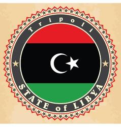 Vintage label cards libya flag vector