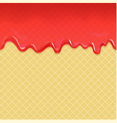 Wafer and flowing red strawberry jam vector