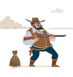 Wild west cowboy gunfight cartoon vector