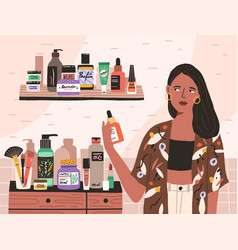 Young woman choosing and taking skincare beauty vector
