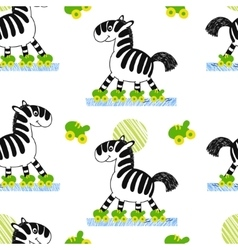 Zebra roller skating seamless pattern vector image