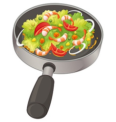 A pan with a food vector image vector image