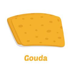 gouda cheese pieces cartoon flat style vector image vector image