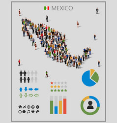 large group of people in form of mexico map with vector image