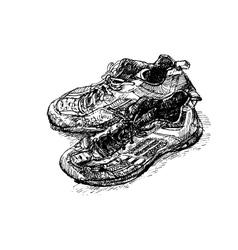 old badminton shoe vector image