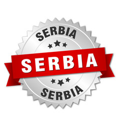 serbia round silver badge with red ribbon vector image vector image