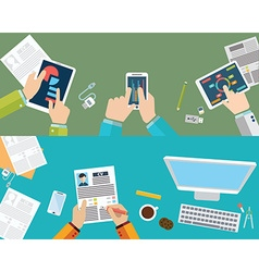 Set of flat design concepts for business finance vector image