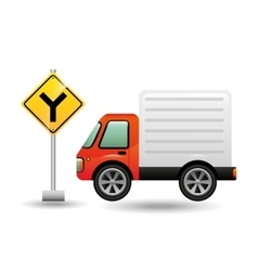 mini truck with fork road vector image vector image