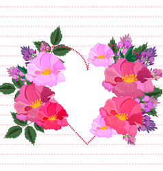 pink floral heart valentine day card vector image vector image