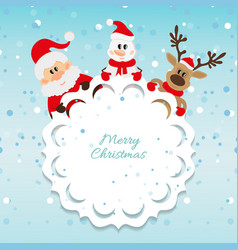 Santa Claus snowman and reindeer blue background vector image vector image
