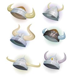 viking helmet set vector image