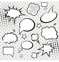 Comic speech bubbles and comic strip on monochrome vector image