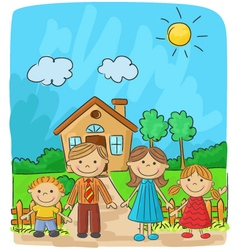 Happy family against a landscape and the house vector image