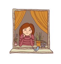 sad girl looking in the window vector image