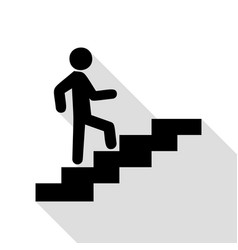 man on stairs going up black icon with flat style vector image vector image