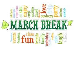 March Spring School Break Word Cloud Bubble Tag vector image