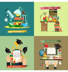 School and Education set backgrounds flat design vector image vector image