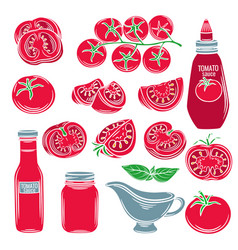set red decorative tomato vegetables vector image vector image
