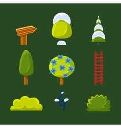 Trees Bushes and Sign Set vector image vector image