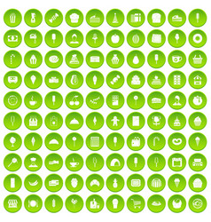 100 dessert icons set green circle vector