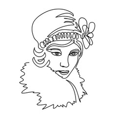 1920s girl portrait head face vector
