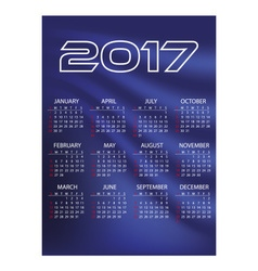 2017 simple business wall calendar blue color vector image