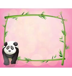 A panda beside a bamboo frame vector image