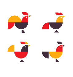 abstract geometrical chicken logo vector image