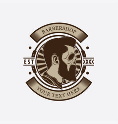 barber shop skull head logo vector image