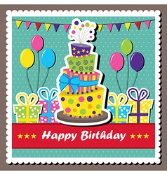Birthday card with topsy-turvy cake vector image vector image