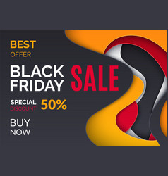 black friday offer 50 percent price off leaflet vector image