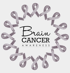 Brain cancer awareness ribbon design vector image