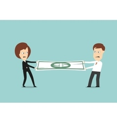 Businessman and business woman fights for money vector image