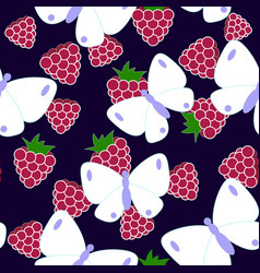 butterflu and raspberry pattern vector image