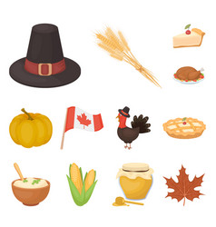 Canada thanksgiving day cartoon icons in set vector