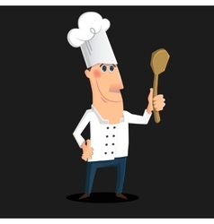 Cartoon chef character whith a spoon vector image